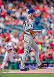1 August 2018: New York Mets starting pitcher Noah Syndergaard walks back up the mound after giving up a 2-run homer to Washington Nationals third baseman Anthony Rendon in the 3rd inning at Nationals Park in Washington, DC. The Nationals defeated the Mets 5-3 to sweep the 2-game weekday series. Mandatory Credit: Ed Wolfstein Photo *** RAW (NEF) Image File Available ***