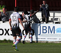Akwasi Asante of Grimsby Town  scores the first goal of the game 0-1 to Grimsby Town and celebrates wiht a personal friend <br /> during the Sky Bet League 2 match between Accrington Stanley and Grimsby Town at the Fraser Eagle Stadium, Accrington, England on 25 March 2017. Photo by Tony  KIPAX / PRiME Media Images.
