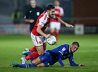 Fleetwood Town's Lewis Coyle is brought down <br /> <br /> Photographer Andrew Kearns/CameraSport<br /> <br /> The Carabao Cup First Round - Fleetwood Town v Carlisle United Kingdom - Tuesday 8th August 2017 - Highbury Stadium - Fleetwood<br />  <br /> World Copyright &copy; 2017 CameraSport. All rights reserved. 43 Linden Ave. Countesthorpe. Leicester. England. LE8 5PG - Tel: +44 (0) 116 277 4147 - admin@camerasport.com - www.camerasport.com