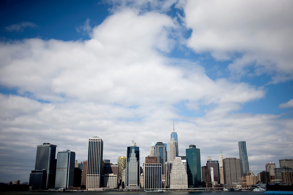 The Lower Manhattan skyline is seen from Brooklyn on Saturday, April 5, 2014, in New York. (Photo by James Brosher)