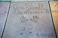Grauman's, Chinese, Theatre,  Jane Russell, Movie Star, Hand - Footprint, Impressions, Hollywood,  CA