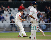 7th September 2017, Emirates Old Trafford, Manchester, England; Specsavers County Championship, Division One; Lancashire versus Essex; Stephen Parry of Lancashire celebrates after taking the wicket of Ravi Bopara with the final ball before tea and Essex are 115-4