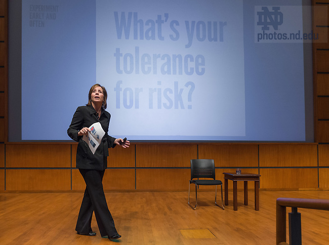 Nov. 21, 2014; Jean Case, philanthropist and founder of the Case Foundation, speaks in Jordan Auditorium as part of the Mendoza College of Business' 'Boardroom Insights' lecture series. (Photo by Matt Cashore/University of Notre Dame)