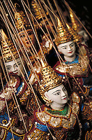 Finely decorated marionettes. Night market Chiang Mai, Thailand. Vertical image. Chiang Mai, Thailand.