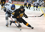 28 November 2008: Air Force forward, Matt Fairchild (12) battles Tiger, Bil Sweatt (21) as the #11 Air Force Falcons upset #3 Colorado College 4-1at Cadet Ice Arena, United States Air Force Academy, Colorado Springs, CO.
