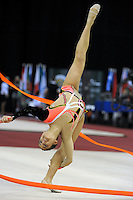 Ines Gomes of Portugal turns back flexion with ribbon at 2009 Budapest World Cup on March 7, 2009 at Budapest, Hungary.  Photo by Tom Theobald.