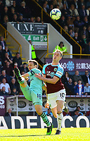 Burnley's Ashley Barnes battles with Arsenal's Nacho Monreal<br /> <br /> Photographer Alex Dodd/CameraSport<br /> <br /> The Premier League - Burnley v Arsenal - Sunday 12th May 2019 - Turf Moor - Burnley<br /> <br /> World Copyright &copy; 2019 CameraSport. All rights reserved. 43 Linden Ave. Countesthorpe. Leicester. England. LE8 5PG - Tel: +44 (0) 116 277 4147 - admin@camerasport.com - www.camerasport.com