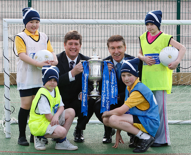 SFA Chief Executive Gordon Smith and Keith Brown minister for Schools and Skills  at Glenlee Prinary, Hamilton with the Scottish Cup and schoolkids Caitlin Ho, Caitlin Morris, William Wallace and Callum Morley