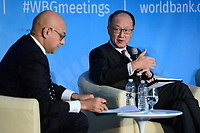 "Washington, DC - April 21, 2018: World bank President Jim Yong Kim participates in a panel discussion, moderated byMSNBC/NBC news correspondent Ali Velshi, on ""Building Human Capital"" at the World Bank Group in Washington, DC April 21, 2018, as part of the IMF/World bank Spring Meetings.  (Photo by Don Baxter/Media Images International)"