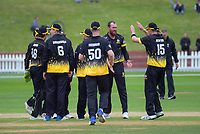 The Firebirds celebrate a wicket in the Ford trophy one day cricket match between Wellington Firebirds and Auckland Aces at the Basin Reserve in Wellington, New Zealand on Sunday, 4 November 2018. Photo: Dave Lintott / lintottphoto.co.nz