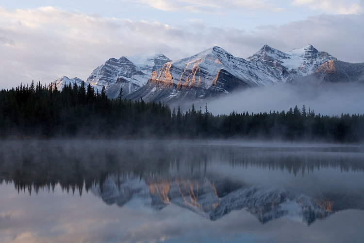 Herbert Lake is well known for it's striking scenery at the break of dawn,  Banff NP.