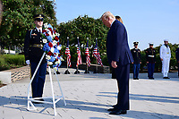 United States President Donald J. Trump lays a wreath at the Pentagon during the 18th anniversary commemoration of the September 11 terrorist attacks, in Arlington, Virginia on Wednesday, September 11, 2019.   <br /> Credit: Kevin Dietsch / Pool via CNP /MediaPunch