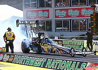 Aug. 3, 2014; Kent, WA, USA; NHRA top fuel dragster driver Shawn Langdon during the Northwest Nationals at Pacific Raceways. Mandatory Credit: Mark J. Rebilas-