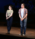 Caitlin Kinnunen and Derek Klena during the Pre-Opening Night Curtain Call for 'The Bridges of Madison County' with special guest Author Robert James Waller at The Gerald Schoenfeld Theatre on February 19, 2014 in New York City.