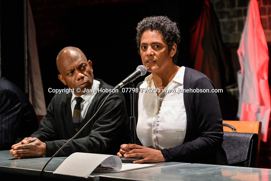 """A brand new adaptation of Albert Camus' """"The Plague"""" opens at the Arcola Theatre. Adapted and directed by Neil Bartlett. Picture shows: Burt Caesar (Grand),  Sara Powell (Dr Rieux)"""
