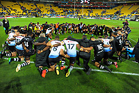 The teams huddle after the 2017 Rugby League World Cup quarterfinal match between New Zealand Kiwis and Fiji at Wellington Regional Stadium in Wellington, New Zealand on Saturday, 18 November 2017. Photo: Dave Lintott / lintottphoto.co.nz
