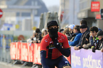 Ivan Garcia Cortina (ESP) Bahrain-Merida feels the chill as he arrives at sign on before the 2019 Gent-Wevelgem in Flanders Fields running 252km from Deinze to Wevelgem, Belgium. 31st March 2019.<br /> Picture: Eoin Clarke | Cyclefile<br /> <br /> All photos usage must carry mandatory copyright credit (© Cyclefile | Eoin Clarke)