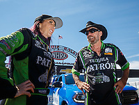 Sep 4, 2016; Clermont, IN, USA; NHRA funny car driver Alexis DeJoria (left) with father John Paul DeJoria during qualifying for the US Nationals at Lucas Oil Raceway. Mandatory Credit: Mark J. Rebilas-USA TODAY Sports