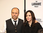 "Danny Burstein and Mary Louise Parker attend the cast photo call for ""Laramie: A Legacy""  on September 24, 2018 at The Gerald W. Lynch Theater at John Jay College in New York City."