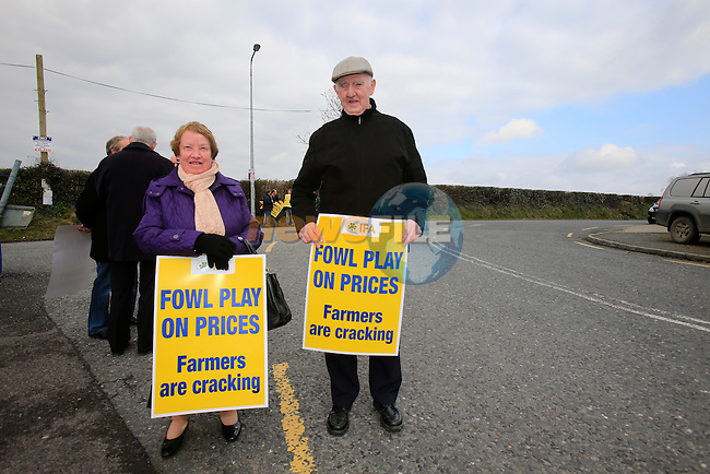 Eamon and Elizabeth Quinn from Ballybay at the IFA protest demanding fair prices from processors and retailers outside the Carton processing plant in Shercock, Co.Cavan, Ireland 12th April 2013 (Photo by Eoin Clarke/www.newsfile.ie 2013)
