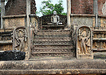 Seated Buddha in Vatadage building, The Quadrangle, UNESCO World Heritage Site, the ancient city of Polonnaruwa, Sri Lanka, Asia