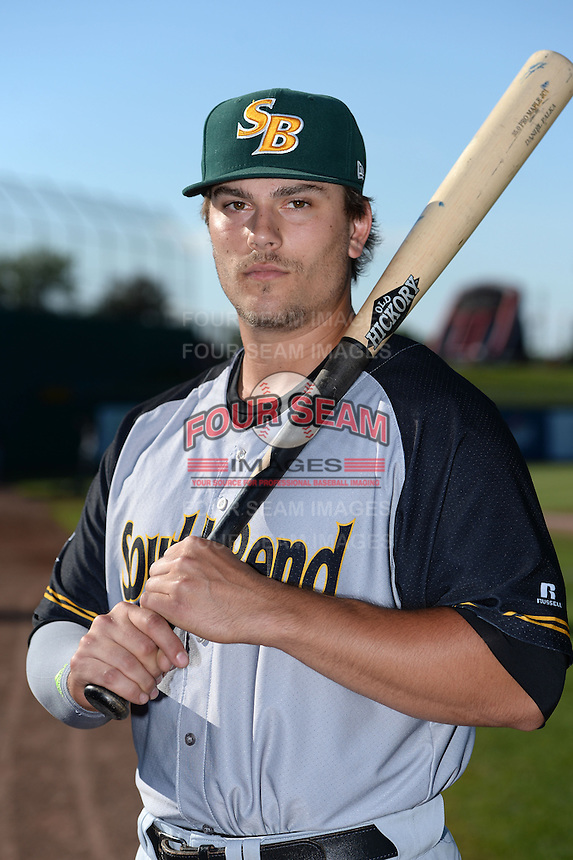 South Bend Silver Hawks first baseman Daniel Palka (24) poses for a photo before a game against the Lansing Lugnuts on June 6, 2014 at Cooley Law School Stadium in Lansing, Michigan.  South Bend defeated Lansing 13-5.  (Mike Janes/Four Seam Images)