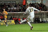 Pictured: Mark Gower of Swansea scoring the opening goal. Tuesday 12 April 2011<br /> Re: Swansea City FC v Hullh City, npower Championship at the Liberty Stadium, Swansea, south Wales.