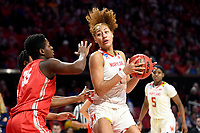 College Park, MD - March 23, 2019: Maryland Terrapins forward Shakira Austin (1) make a strong move to the basket over Radford Highlanders forward Amele Ngwafang (35) during first round action of game between Radford and Maryland at Xfinity Center in College Park, MD. Maryland defeated Radford 73-51. (Photo by Phil Peters/Media Images International)