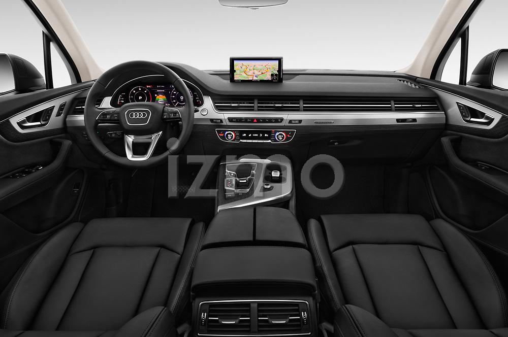 Stock photo of straight dashboard view of 2017 Audi Q7-e-Tron Avus 5 Door SUV Dashboard