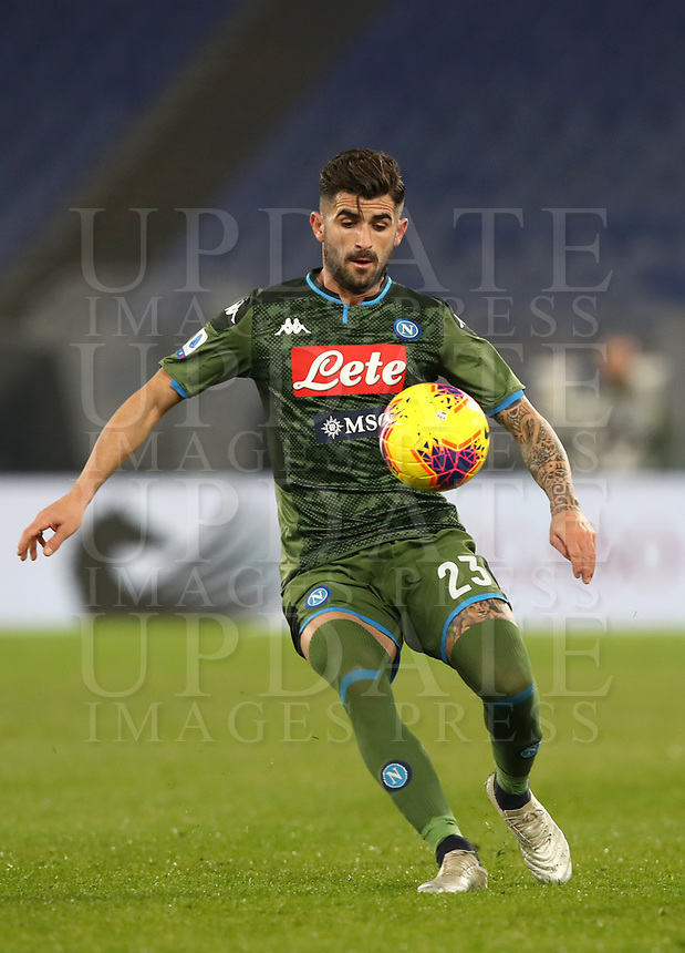 Football, Serie A: S.S. Lazio - Napoli, Olympic stadium, Rome, January 11, 2020.<br /> Napoli's Elseid Hysaj in action during the Italian Serie A football match between S.S. Lazio and Napoli at Rome's Olympic stadium, Rome , on January 11, 2020.<br /> UPDATE IMAGES PRESS/Isabella Bonotto