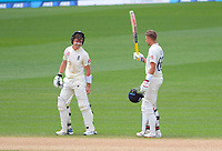 England's Ollie Pope congratulates Joe Root on his 200 runs during day four of the international cricket 2nd test match between NZ Black Caps and England at Seddon Park in Hamilton, New Zealand on Friday, 22 November 2019. Photo: Dave Lintott / lintottphoto.co.nz