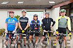 L-R Niamh Faharty from Gneeveguilla, Michael Lawlor from Gneeveguilla, Nora O'Connor from Rathmore, Sean Cronin from Headford and Alan Johns from Killarney at the Barduff National School 80 km  Resource Cycle to raise the funds for school in Barrduff last Sunday morning.
