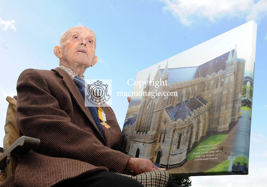 26-09-2012:  Tim Casey, who has retired after 60 years service as Parish Clerk at the Daniel O'Connell Memorial Church  in Cahersiveen, Co. Kerry. Picture: Eamonn Keogh ( MacMonagle, Killarney)