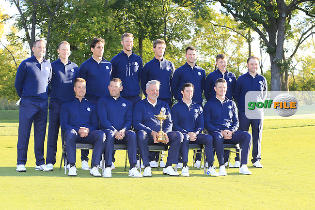 European Team photo shoot during Tuesday's Practice Day of the 41st Ryder Cup held at Hazeltine National Golf Club, Chaska, Minnesota, USA. 27th September 2016.<br /> Picture: Eoin Clarke | Golffile<br /> <br /> <br /> All photos usage must carry mandatory copyright credit (&copy; Golffile | Eoin Clarke)
