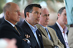From left, California Gov. Jerry Brown, Nevada Gov. Brian Sandoval, Rep. Tom McClintock, R-Calif., and California Lt. Gov. Gavin Newsom listen to Senate Majority Leader Harry Reid speak at 18th annual Lake Tahoe Summit at the Valhalla Estate in South Lake Tahoe, Ca., on Tuesday, Aug. 19, 2014. The event, which attracts government officials, scientists and educational and environmental agencies from California and Nevada, helps focus on environmental issues key to the preservation of the Lake Tahoe basin. (Las Vegas Review-Journal/Cathleen Allison)