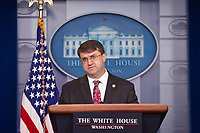Secretary of Veterans Affairs Robert Wilkie speaks to members of the media during a press briefing in the James S. Brady Press Briefing Room at the White House in Washington D.C., U.S., on Friday, November 8, 2019.  Credit: Stefani Reynolds / CNP /MediaPunch