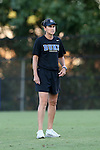 17 September 2016: Duke assistant coach Carla Overbeck. The Duke University Blue Devils hosted the Boston College Eagles at Koskinen Stadium in Durham, North Carolina in a 2016 NCAA Division I Women's Soccer match. Duke won the game 3-2.
