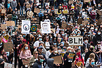 Pictured: Hundreds of thousands of people gather at a Black Lives Matter protest at the Guildhall in Portsmouth, Hants this afternoon.<br /> <br /> The protest takes place after communities from all over the world have held demonstrations in response to the tragic death of George Floyd in the US last week. <br /> <br /> © Jordan Pettitt/Solent News & Photo Agency<br /> UK +44 (0) 2380 458800
