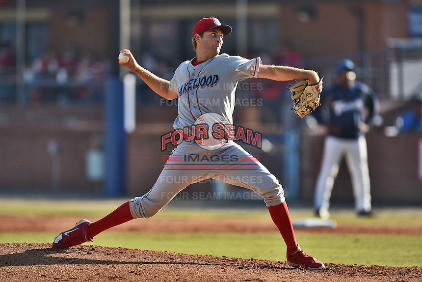 Lakewood BlueClaws starting pitcher Tyler Viza #21 delivers a pitch during a game against the Asheville Tourists at McCormick Field on May 3, 2014 in Asheville, North Carolina. The BlueClaws defeated the Tourists 7-4. (Tony Farlow/Four Seam Images)