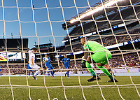 PHILADELPHIA, PA - JUNE 30: Christian Pulisic #10 shoots on goalie Eloy Room #1 during a game between Curaçao and USMNT at Lincoln Financial Field on June 30, 2019 in Philadelphia, Pennsylvania.