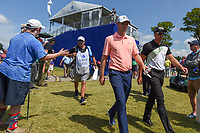 Justin Rose (GBR) and Henrik Stenson (SWE) approach the tee on 18 during Round 2 of the Zurich Classic of New Orl, TPC Louisiana, Avondale, Louisiana, USA. 4/27/2018.<br /> Picture: Golffile | Ken Murray<br /> <br /> <br /> All photo usage must carry mandatory copyright credit (&copy; Golffile | Ken Murray)