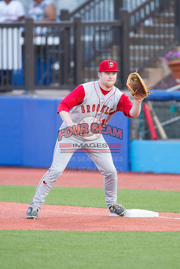 Brooklyn Cyclones first baseman Michael Katz (18) waits for a throw during the game against the Hudson Valley Renegades at Dutchess Stadium on June 18, 2014 in Wappingers Falls, New York.  The Cyclones defeated the Renegades 4-3 in 10 innings.  (Brian Westerholt/Four Seam Images)