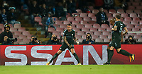 Football Soccer: UEFA Champions League Napoli vs Mabchester City San Paolo stadium Naples, Italy, November 1, 2017. <br /> Manchester City's Nicolas Otamendi celebrates after scoring during the Uefa Champions League football soccer match between Napoli and Manchester City at San Paolo stadium, November 1, 2017.<br /> UPDATE IMAGES PRESS/Isabella Bonotto