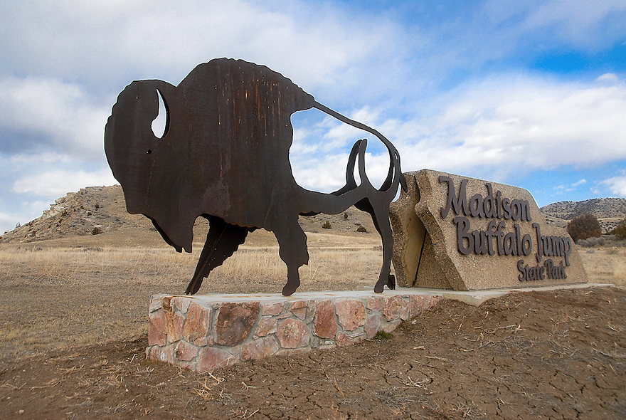 A sign welcomes visitors to Madison Buffalo Jump State Park near Logan, Montana.