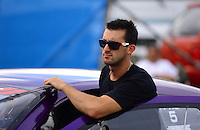 Aug. 31, 2012; Claremont, IN, USA: NHRA pro stock driver Vincent Nobile during qualifying for the US Nationals at Lucas Oil Raceway. Mandatory Credit: Mark J. Rebilas-