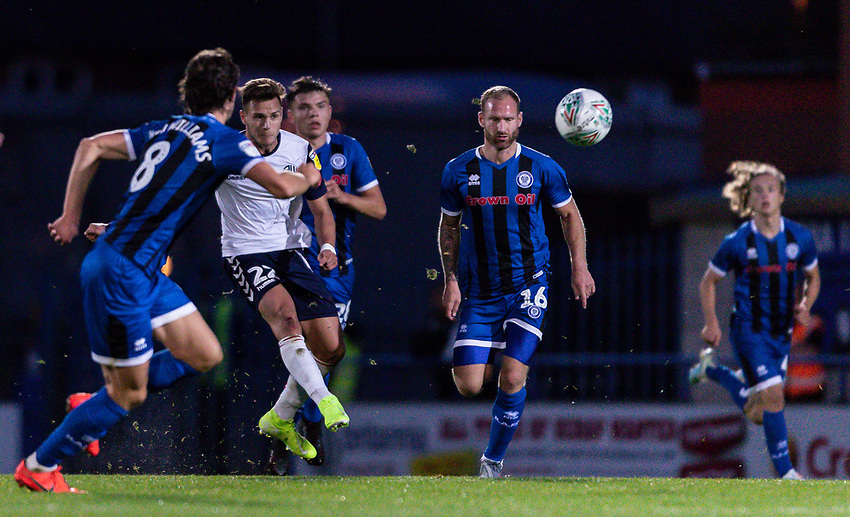 Bolton Wanderers' Dennis Politic (2nd left) shoots from the half way line<br /> <br /> Photographer Andrew Kearns/CameraSport<br /> <br /> The Carabao Cup First Round - Rochdale v Bolton Wanderers - Tuesday 13th August 2019 - Spotland Stadium - Rochdale<br />  <br /> World Copyright © 2019 CameraSport. All rights reserved. 43 Linden Ave. Countesthorpe. Leicester. England. LE8 5PG - Tel: +44 (0) 116 277 4147 - admin@camerasport.com - www.camerasport.com