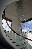 Europe/Espagne/Canaries/Lanzarote/Guatiza : Jardin de cactus - Escalier du moulin (architecture César Manrique)