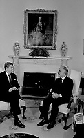 Washington, DC., USA, February 13, 1984<br /> President Ronald Reagan meets with King Hussein II of Jordan in the Oval Office of the White House. Credit: Mark Reinstein/MediaPunch
