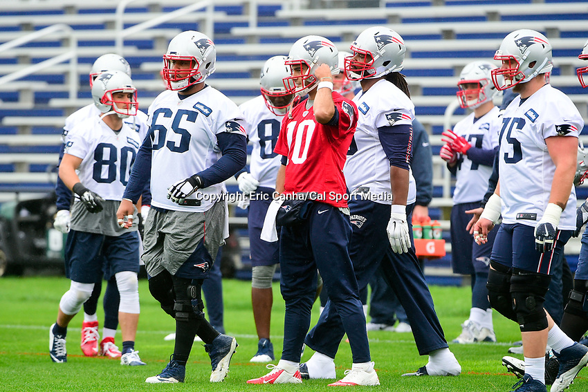 June 6, 2017: New England Patriots quarterback Jimmy Garoppolo (10) waits for the start of a drill at the New England Patriots mini camp held on the practice field at Gillette Stadium, in Foxborough, Massachusetts. Eric Canha/CSM