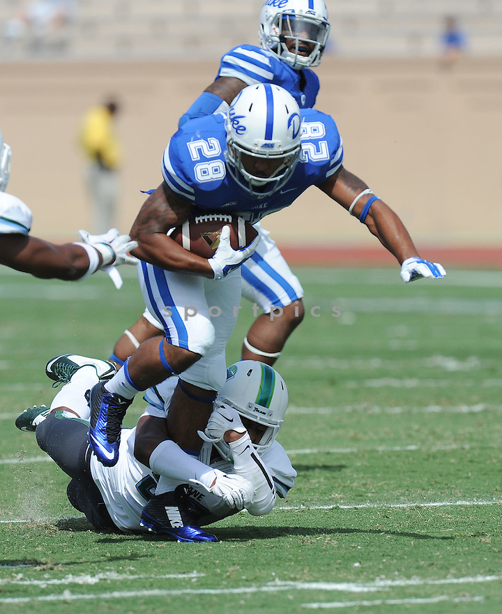 Duke Blue Devils Shaquille Powell (28) during a game against the Tulane Green Wave on September 20, 2014 at Wallace Wade Stadium in Durham, NC. Duke beat Tulane 47-13.